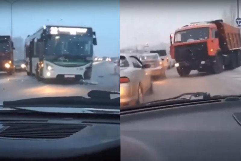 Нұр-Сұлтанда «КамАЗ» көлігі жолаушылар автобусын соқты