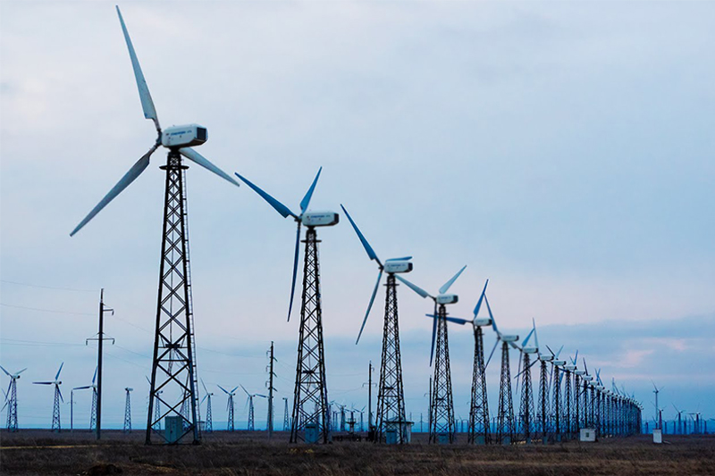 Wind-powered generation plant under construction in Zhambyl rgn