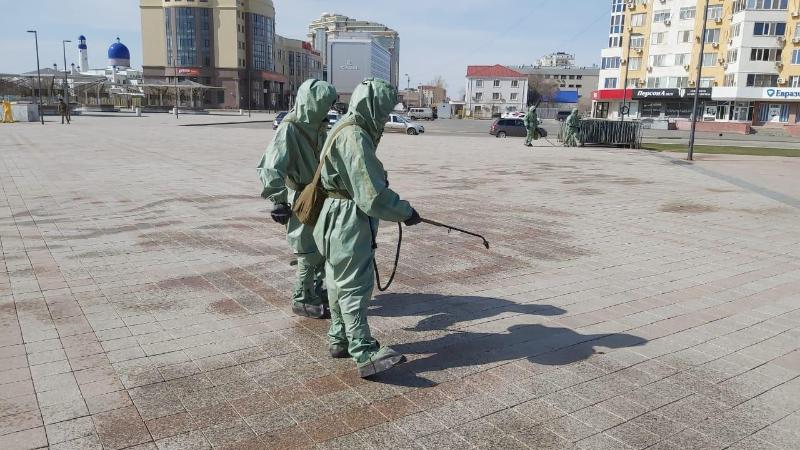 3,5 тонны дезинфицирующего вещества использовали за день в Атырау