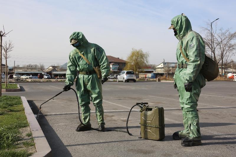 В санитарной обработке Тараза участвуют военнослужащие РгК «Юг»