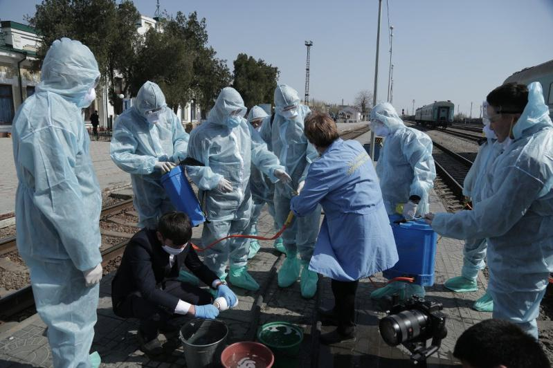 Түркістан облысында дезинфекцияны дұрыс жасауды үйретуде