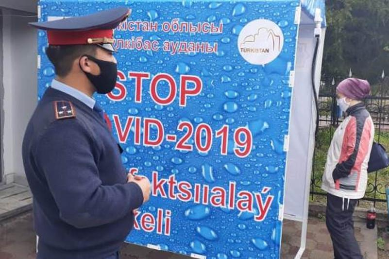 Дезинфицирующие аппараты устанавливают в Тюлькубасском районеТуркестанской области
