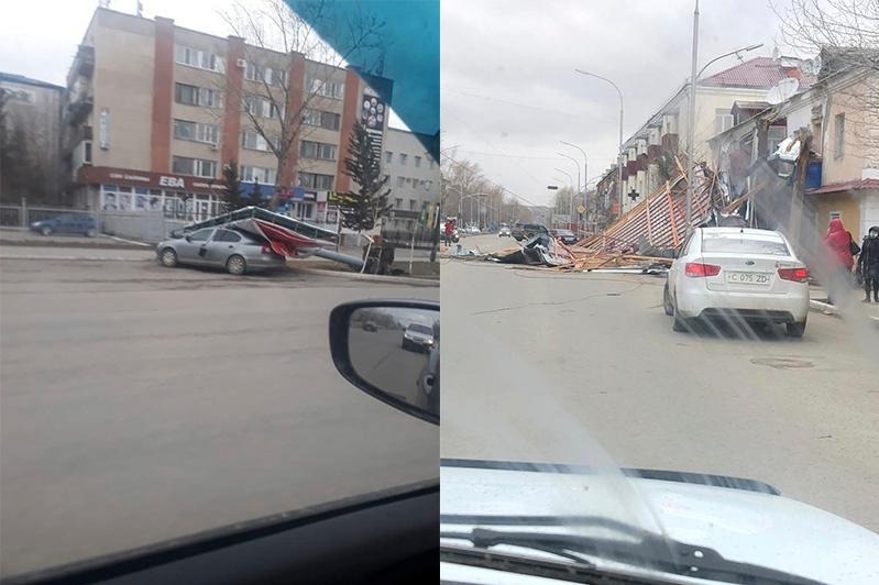 Во время шторма три остановки упали на жителей Кокшетау