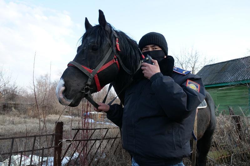 Конные полицейские патрулируют дачи в Петропавловске