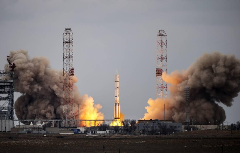 Proton-M carrier rocket with Express telecom satellites launched from Baikonur