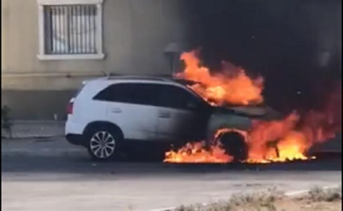 Автомобиль дотла сгорел в Актау