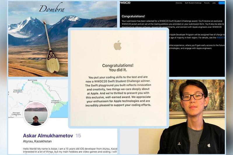 Apple qazaqstandyq oqýshyny dombyra shertýdi úıretetin baǵdarlama úshin marapattady