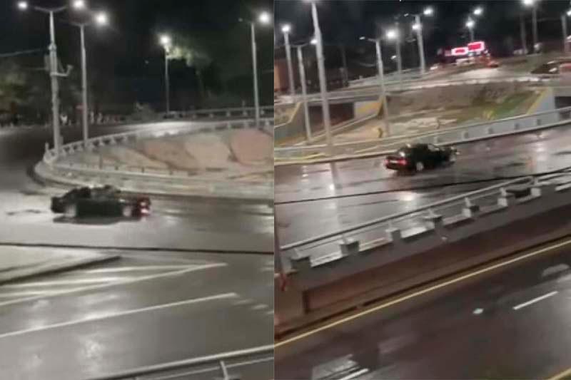 Ночной дрифт на развязке в Алматы: водитель задержан