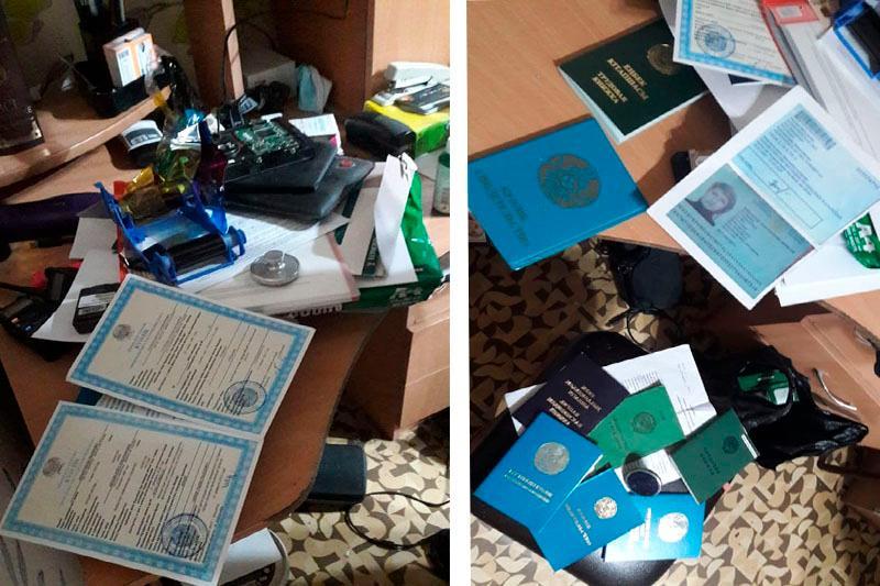 Цех по производству фальшивых документов выявили в Акмолинской области