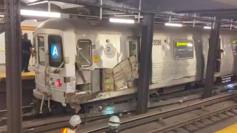 Нью-Йоркте метро пойызы рельстен шығып кетті