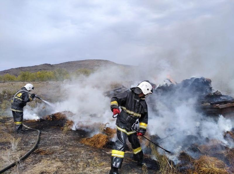 Пожар уничтожил 100 га степи, более 350 тонн сена в сельском округе в ВКО