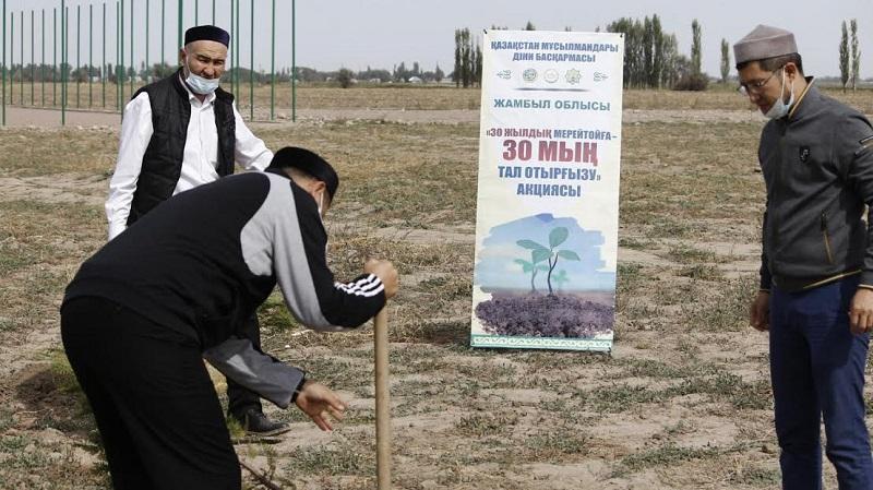 Жамбыл облысында ҚМДБ-ның 30 жылдығына 3651 түп ағаш отырғызылды