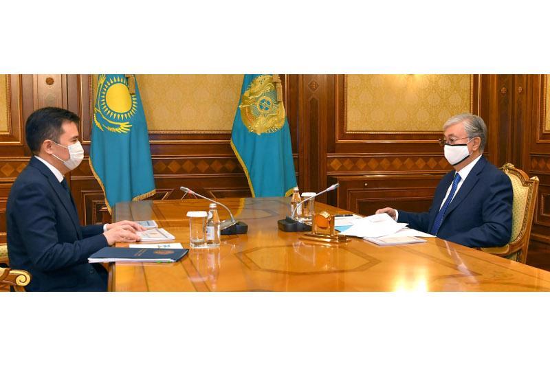 托卡耶夫总统接见国家经济部部长