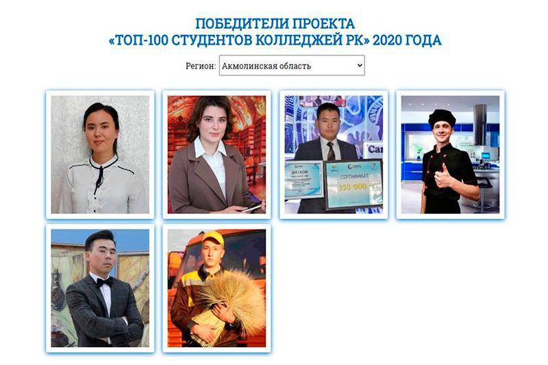 Студенты Акмолинской области вошли в «ТОП-100 студентов колледжей»