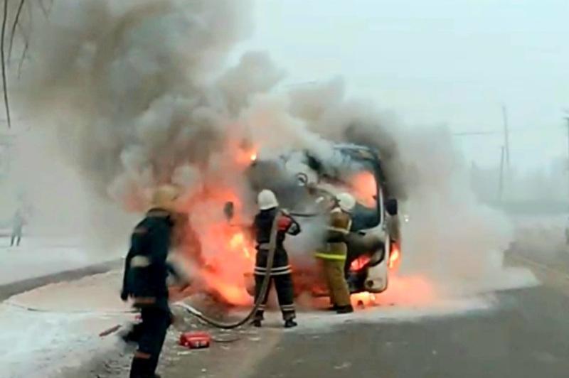 Маршрутный автобус загорелся в Петропавловске