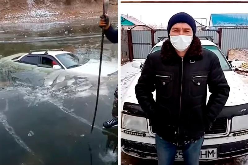 Машина провалилась под лед на реке в ЗКО