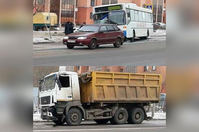 Маршрутный автобус столкнулся с МАЗом в Петропавловске