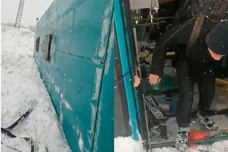 Автобус почти с 40 пассажирами вылетел в кювет близ Караганды