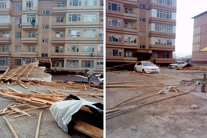 В Таразе продолжаются восстановительные работы после ураганного ветра