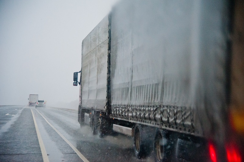 Highway closed due to winter storm in Karaganda rgn