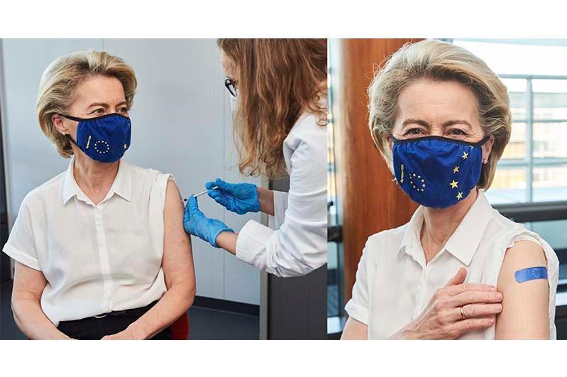 Европа комиссияси раҳбари коронавирусга қарши биринчи вакцинани олди