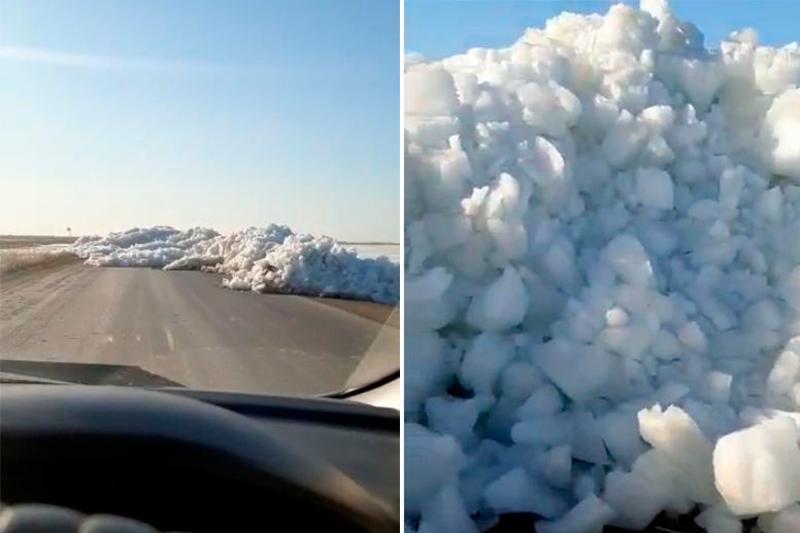 Пятиметровые ледяные торосы перекрыли республиканскую трассу в Костанайской области