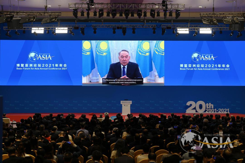 Elbasy Nursultan Nazarbaev Boao azııalyq forýmyna qatysýshylarǵa beıneúndeý jasady