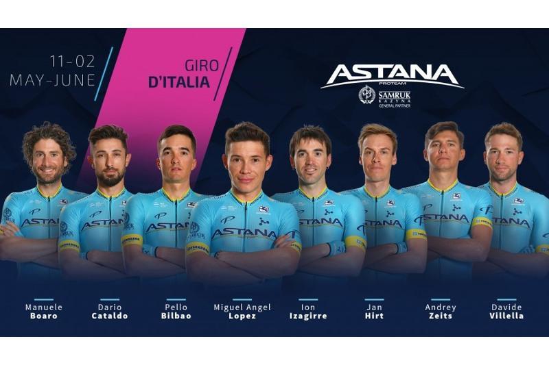 Велокоманда Astana - Premier Tech  объявила состав на «Джиро д'Италия»