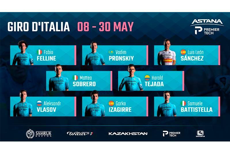 Astana – Premier Tech reveals roster for Giro D'italia