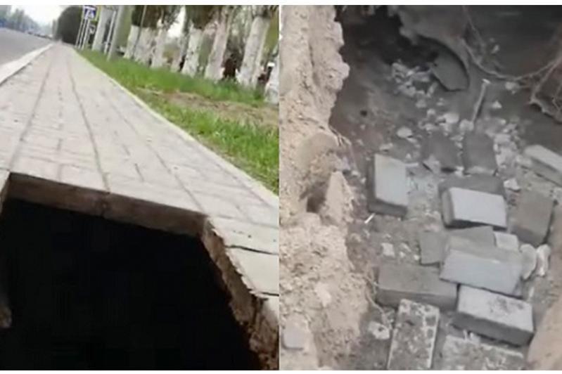 Павлодарец провалился в яму из-за размытого грунта под тротуаром
