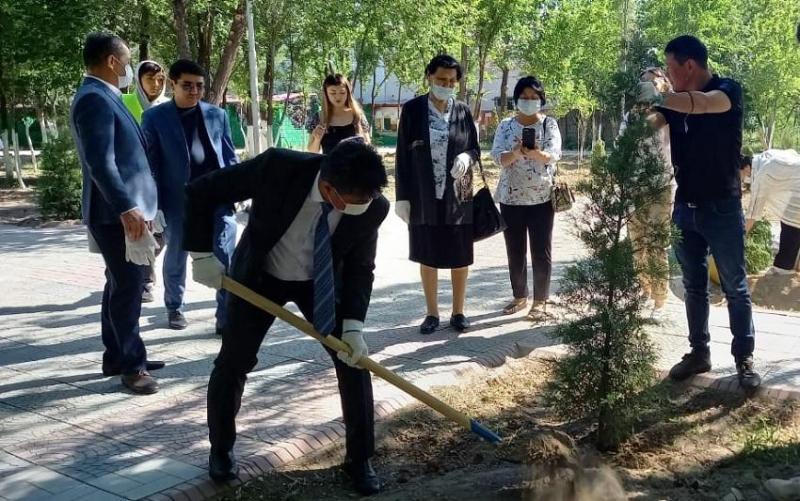 Врачи-ветераны посадили деревья в новом парке здоровья в Таразе