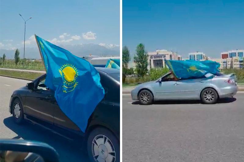 Алматида Давлат рамзлари кунига бағишланган автопарад бўлиб ўтди