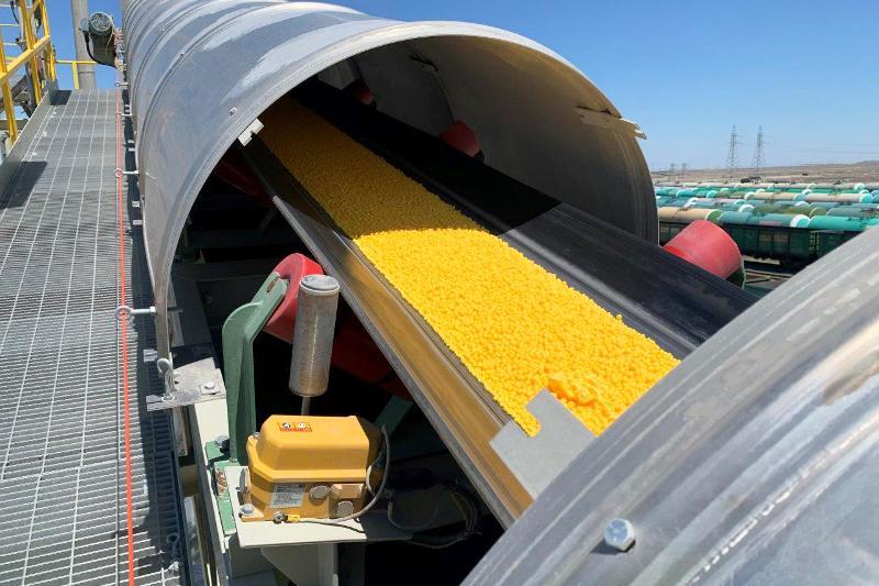 На Тенгизе запущен завод по производству гранулированной серы