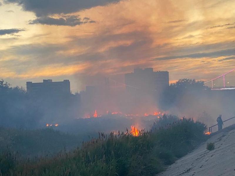 Горят камыши и кустарники на реке Урал в Атырау