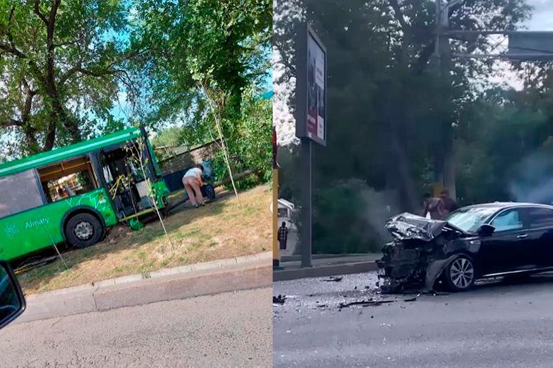 ДТП с автобусом в Алматы: семь человек пострадали