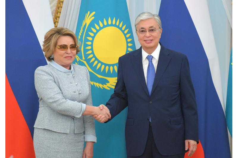 Kazakh President, Chairwoman of Russia's Federation Council hold talks