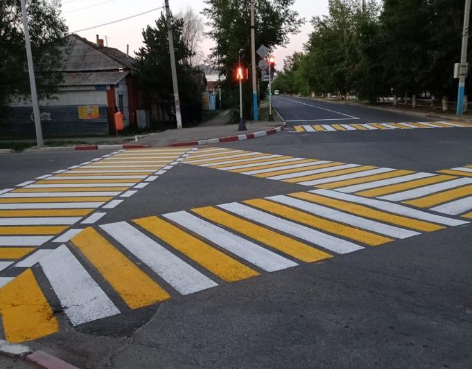 Диагональный пешеходный переход появился недалеко от общества слепых в Кокшетау