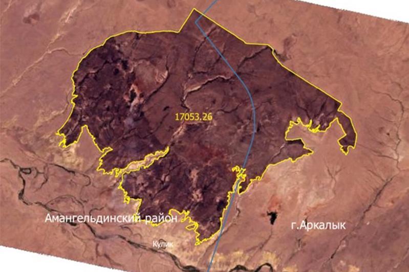 Казахстанские спутники ДЗЗ зафиксировали площадь степного пожара в Костанайской области