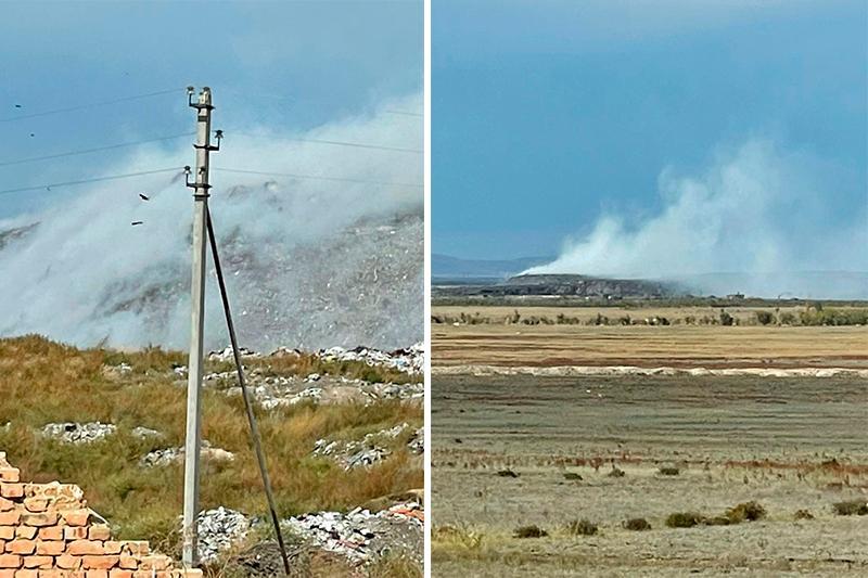 Жители Семея задыхаются от дыма горящего полигона мусора