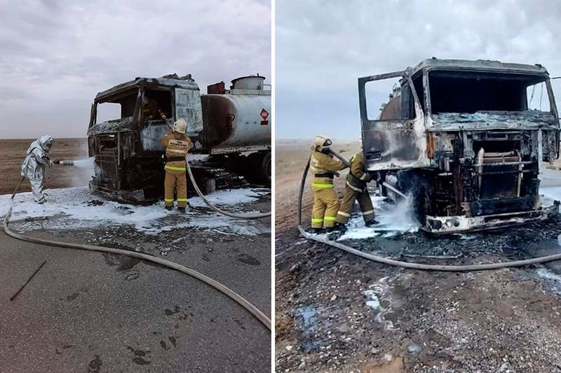 Бензовоз сгорел на трассе в Атырау