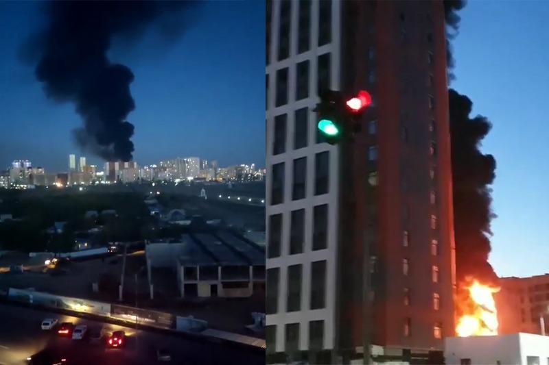 Строящийся жилой комплекс горел в Нур-Султане