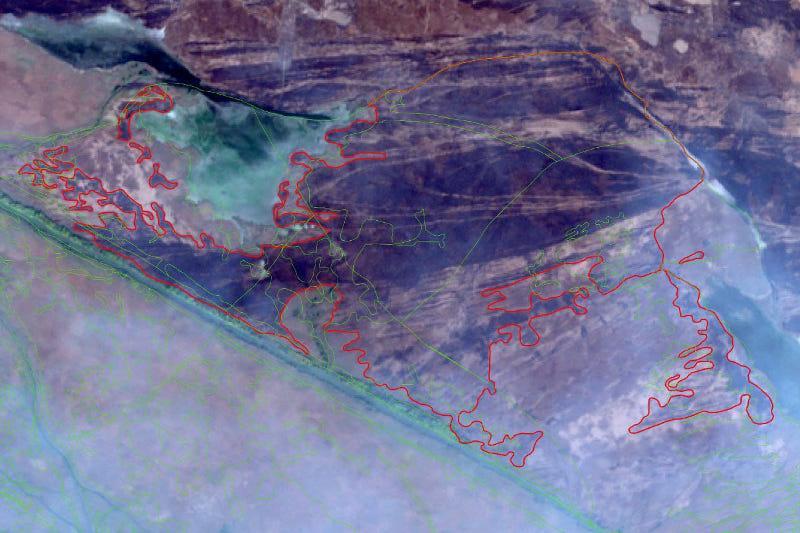 Спутники ДЗЗ зафиксировали площадь пожара на территории гослесфонда в Атырауской области