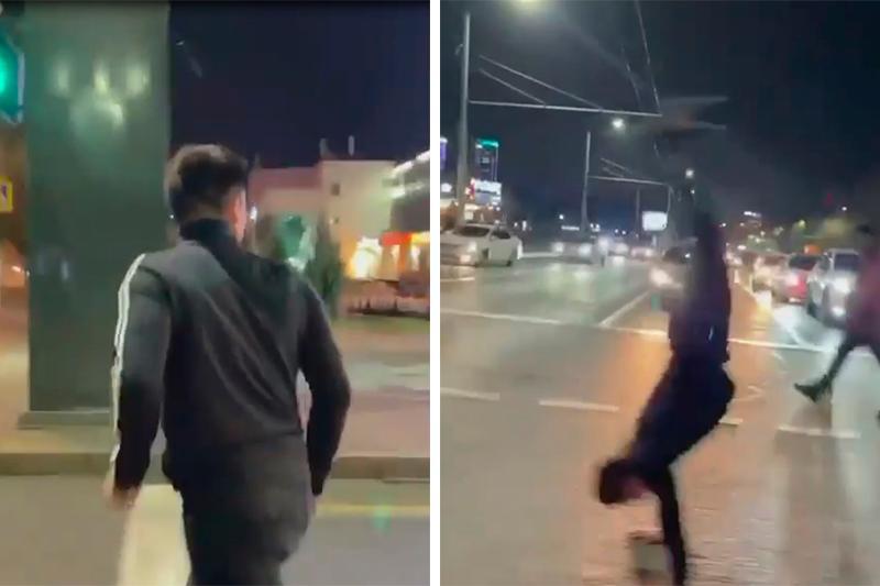 Алматинского акробата оштрафовали за сальто на пешеходном переходе