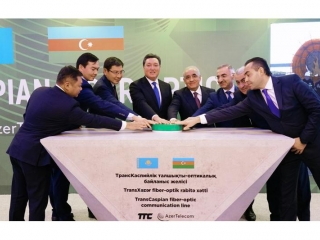 Kazakh, Azerbaijani PMs launch construction of fiber optic links along the bottom of Caspian Sea